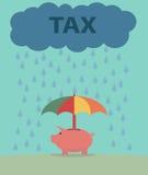 Piggybank and Taxes. Royalty Free Stock Photo