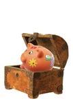 Piggybank and Treasure Box Stock Photos