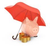 Piggybank und Goldmünzen unter Regenschirm Lizenzfreie Stockbilder