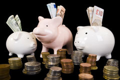 Piggybank with various currency. Piggy bank with various international currencies on a black background. Three pigs are showing the 3 major international Royalty Free Stock Image