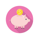 Piggybank Vector Icon in Flat Style Design. Piggybank with gold coin vector icon in flat style. Savings, bank deposit, pension concept. Illustration for Stock Image
