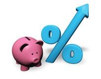 Piggybank wachsende Prozente Lizenzfreie Stockbilder