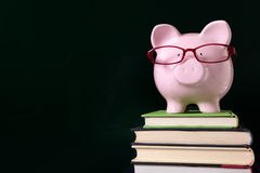 Piggybank wearing glasses with blackboard background Royalty Free Stock Photography