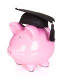 Piggybank wearing graduation hat Stock Images