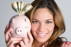 Piggybank Woman Royalty Free Stock Photos
