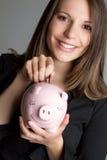 Piggybank Woman Stock Photography