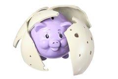 Piggybank y pedazos quebrados Imagenes de archivo