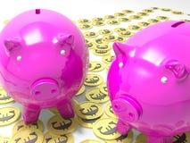 Piggybanks auf den Euromünzen, die europäische Einsparungen zeigen vektor abbildung