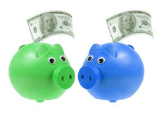 Piggybanks with Banknotes Royalty Free Stock Photo