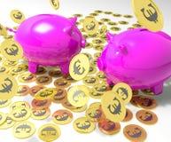 Piggybanks On Coins Shows European Financial Status Stock Images