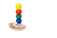 4 piggybanks com euro- notas Foto de Stock Royalty Free