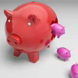 Piggybanks dentro de Piggybank que muestra crecimiento monetario Foto de archivo libre de regalías