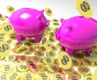 Piggybanks en las monedas que muestran actividades bancarias americanas Imagen de archivo