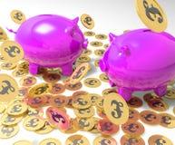 Piggybanks en las monedas que muestran las rentas de Gran Bretaña Imagenes de archivo