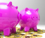 Piggybanks On Euro Coins Showing Richness Stock Image