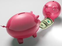 Piggybanks Fighting Over Money Shows Monetary Consumption. Or Bank Deposit Stock Photo