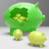 Piggybanks Inside Piggybank Shows Financial Break Royalty Free Stock Images