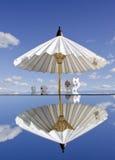 Piggybanks on mirror and umbrella Royalty Free Stock Photos