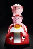 Piggybanks på Toy Car Royaltyfria Foton