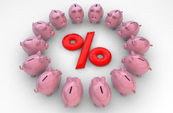 Piggybanks percent Stock Images