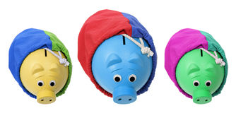 Piggybanks in Sacks Stock Images
