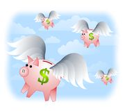 Piggybanks with Wings Flying Stock Photography