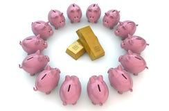 Piggybanks złoto Fotografia Royalty Free
