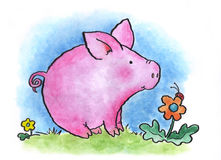 Piglet. A young pig contemplates a ladbug in a meadow. Art marker on vellum Stock Image