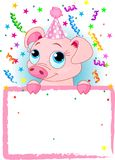 Piglet Birthday. Adorable Piglet Wearing A Party Hat, Looking Over A Blank Starry Sign With Colorful Confetti Royalty Free Stock Photo