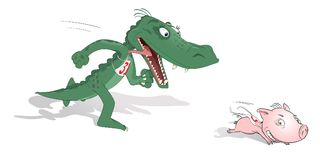 Piglet and crocodile. Piglet - champion in running from the crocodile Stock Image