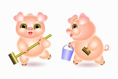 Piglet does cleaning. On white background Stock Image