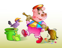Piglet dustman Royalty Free Stock Photography
