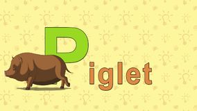 Piglet. English ZOO Alphabet - letter P. Animation English ZOO alphabet. Letter P and word Piglet. 2D handmade animation stock footage