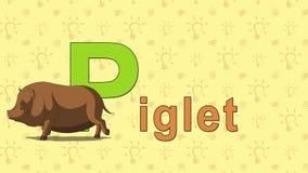 Piglet. English ZOO Alphabet - letter P stock footage
