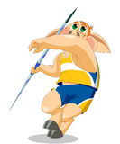 A piglet is javelin thrower Royalty Free Stock Images
