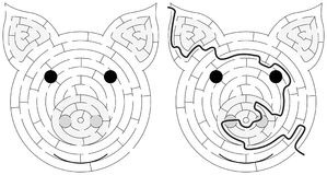 Piglet maze. For kids with a solution in black and white Royalty Free Stock Images