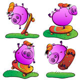 Piglet performs stunts on a skateboard. He just rolls around, performs jumping in the air Vector Illustration