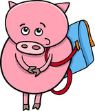 Piglet with satchel cartoon illustration Royalty Free Stock Images