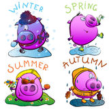 Piglet and seasons. Winter freezes under snowfall, playing snowballs. In the spring of jumping over puddles and collecting snowdrops. In the summer sunbathing Royalty Free Illustration