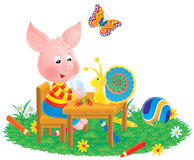 Piglet, snail and butterfly Stock Image
