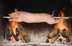 Piglet on a spit. Piglet roasted on a spit Royalty Free Stock Images