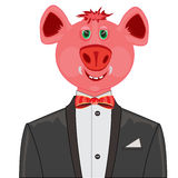 Piglet in suit with butterfly Royalty Free Stock Image