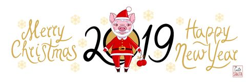 Piglet on a white background text 2019 and snowflakes stock illustration