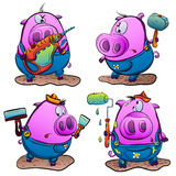Piglets make repairs. Piglet with a drill, a hammer with a pig, a pig and a paint roller, a pig with a spatula Vector Illustration