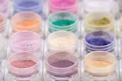 Pigmentos cosméticos coloridos del polvo Imagen de archivo libre de regalías