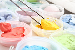 Pigments painting. Shop for plastics, pigments painting Royalty Free Stock Photography