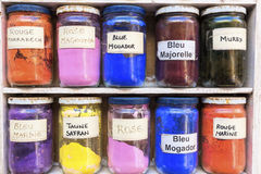 Pigments for sale on a market, Morocco Stock Photos