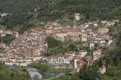 Pigna antyczna wioska, prowincja Imperia, Włochy Obrazy Royalty Free