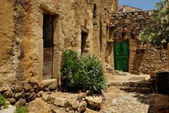 Pigna (Cosica, France). Pigna is a small artists and craftsmen town with a lot of small alleys (Corsica, Fance Stock Photo