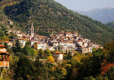 Pigna, a town in Liguria, Italy. Pigna, a medieval town in the Valle Nervia, Liguria, Italy stock image